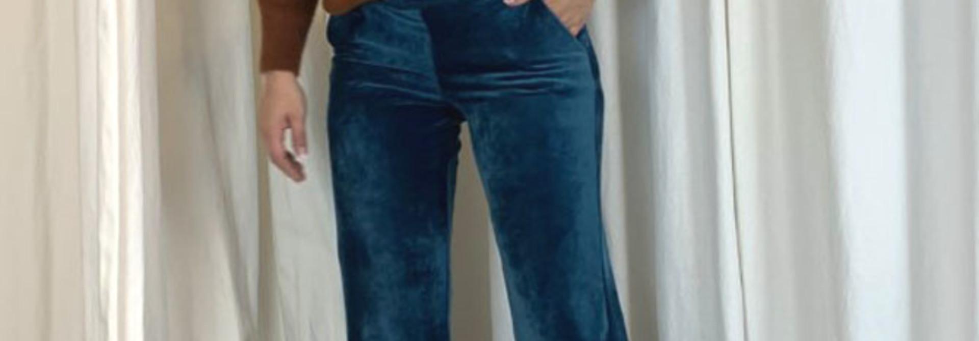 Lancio velvet pant Turquoise