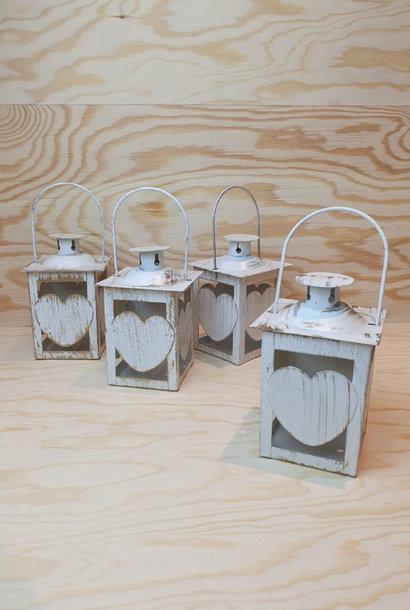 Candleholder metal heart Gold White