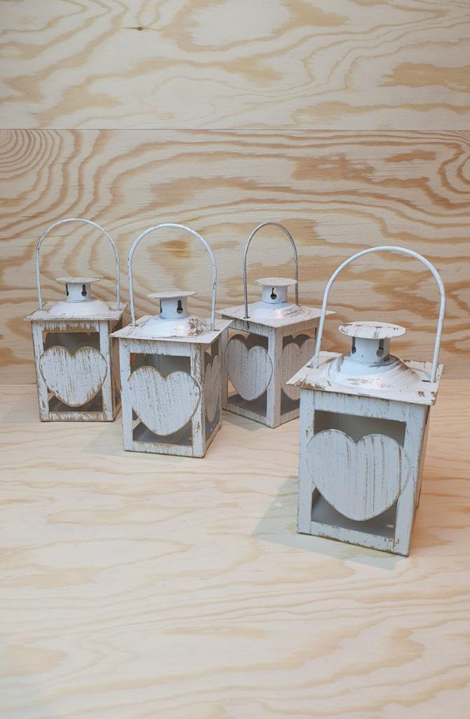 Candleholder metal heart Gold White-1