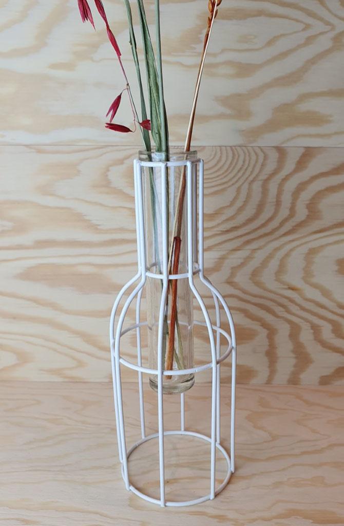 Urban metal mesh vase White-3