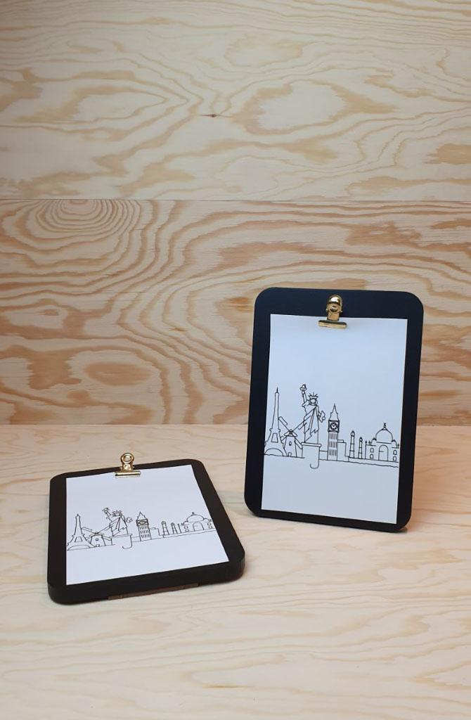 Urban photo frame clips vertical Black-1