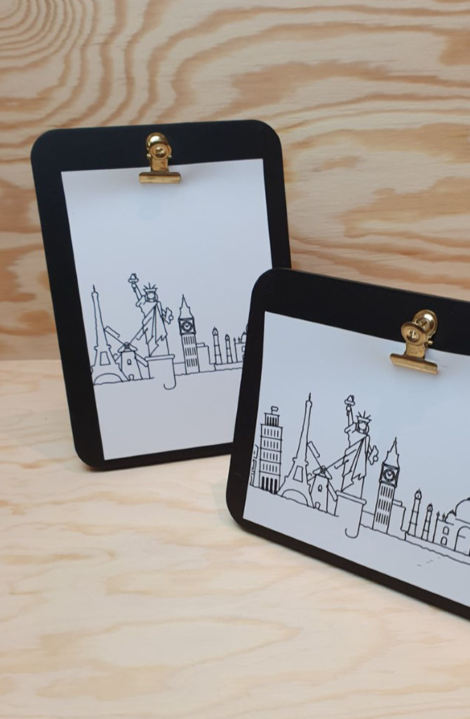 Urban photo frame clips horizontal Black-2