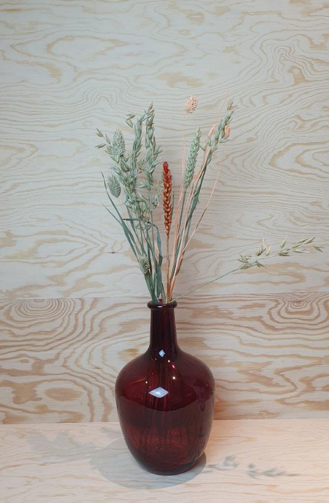 Wide bottle vase Burgundy-1