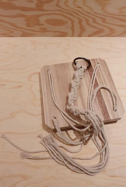 Macramé wooden  shelf hanger 18x18x75 Naturelle