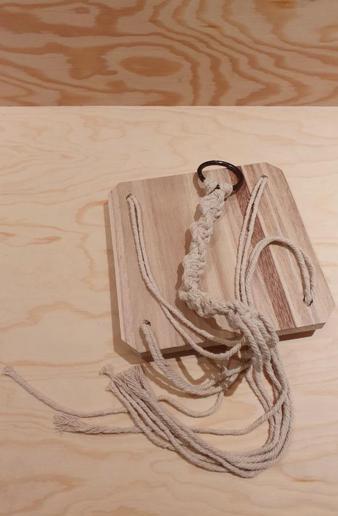 Macramé wooden  shelf hanger Naturelle-1