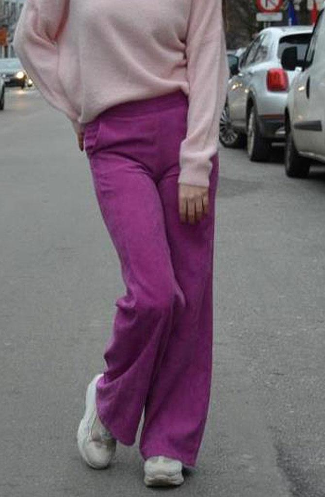 Charro corduroy wide pant Fushia-1