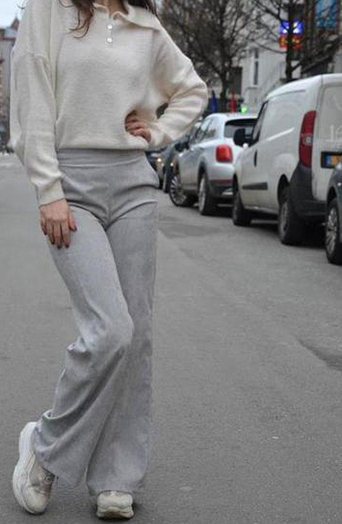 Charro corduroy wide pant Grey-1