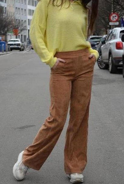 Charro corduroy wide pant Camel