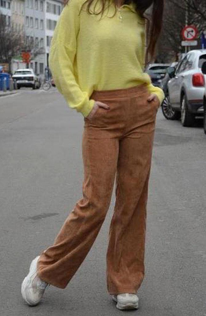Charro corduroy wide pant Camel-1