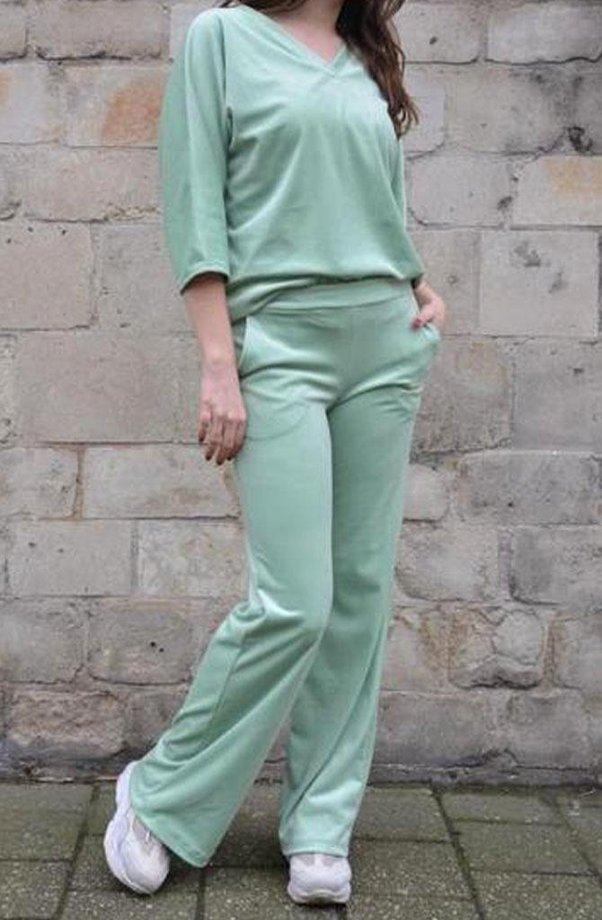 Lancio velvet pant Blossom Green-1
