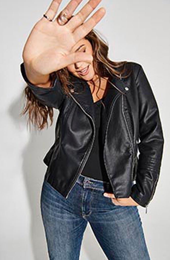 Emmy vegan leather biker jacket Black-2