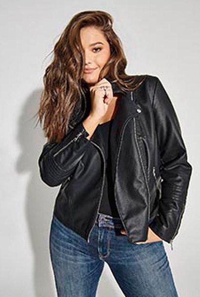 Emmy vegan leather biker jacket Black