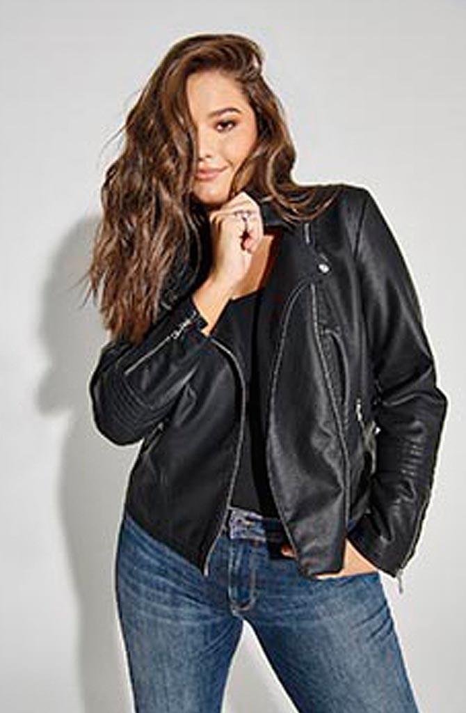 Emmy vegan leather biker jacket Black-1