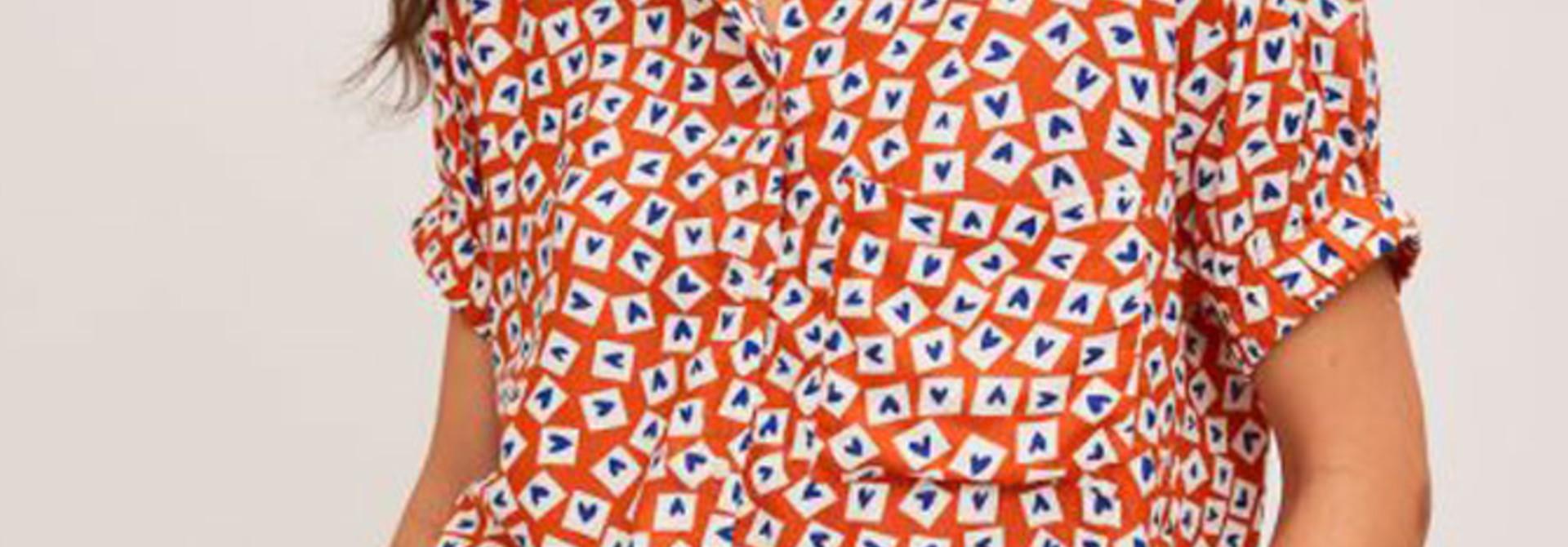 Jaelyn heart blouse Orange