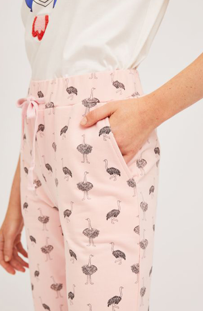 Pleaum ostrich sweatpant homewear Pink-3