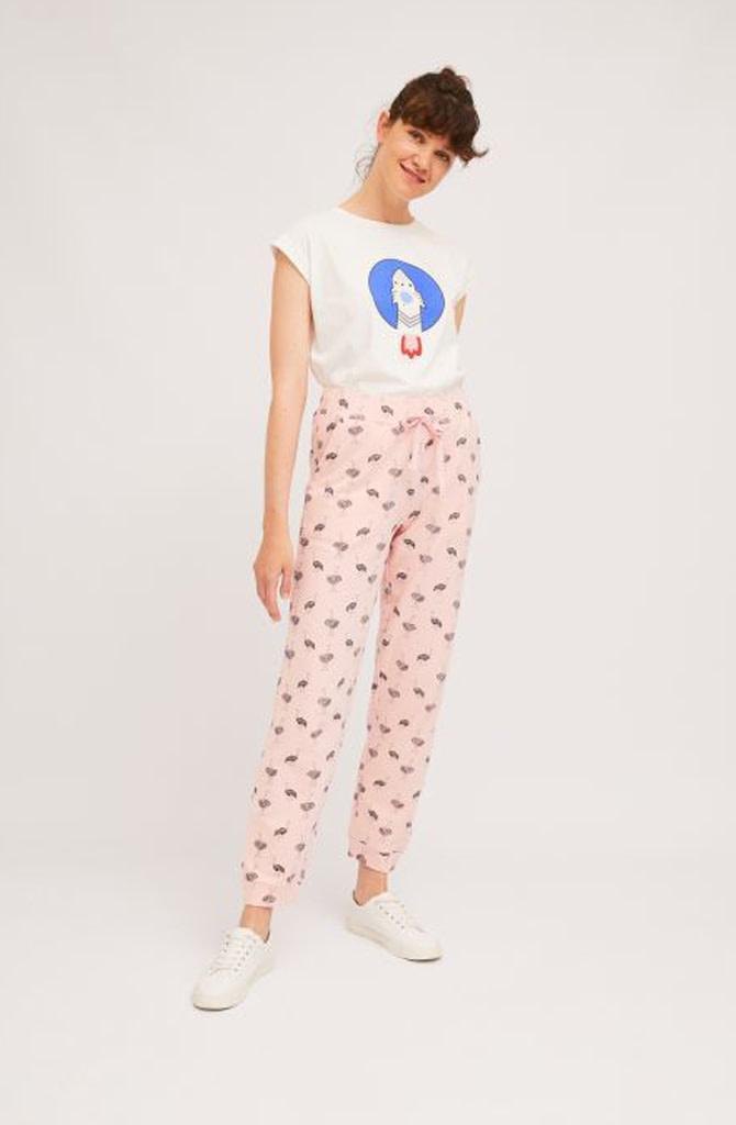 Pleaum ostrich sweatpant homewear Pink-1