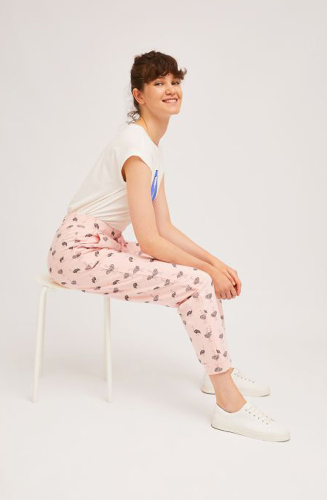 Pleaum ostrich sweatpant homewear Pink-2