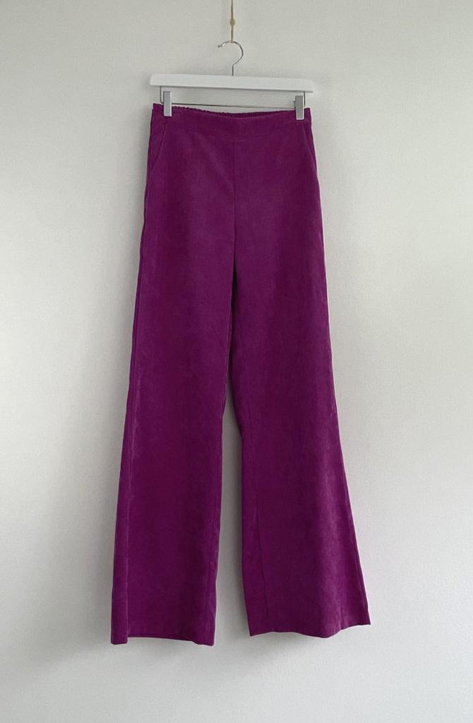 Charro corduroy wide pant Fushia-2