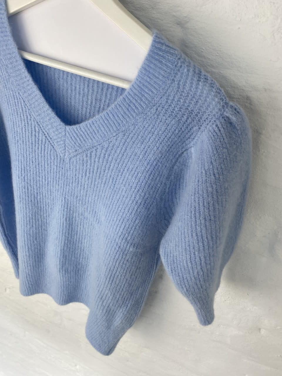 Katey soft knitted t-shirt Light Blue-4