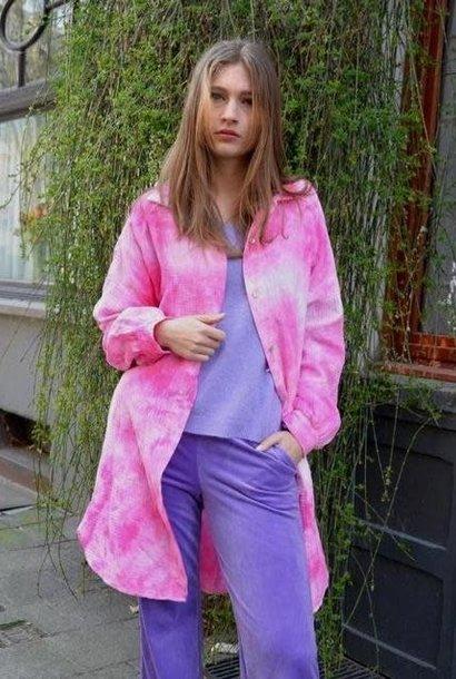 Delisha tie-dye oversized tetra shirt Fushia