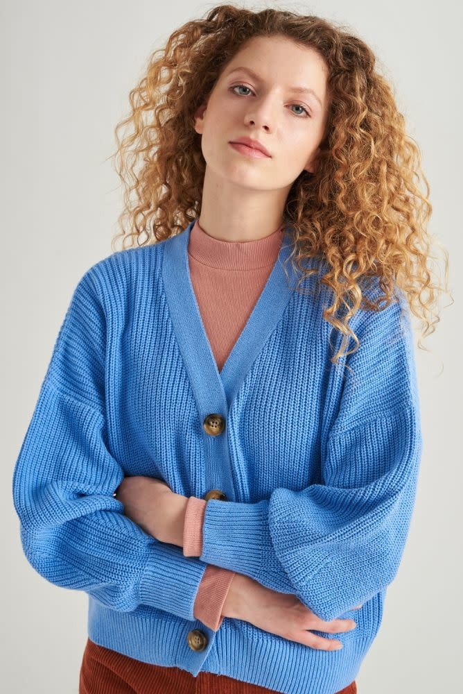 Varyn oversized cardigan Blue-1