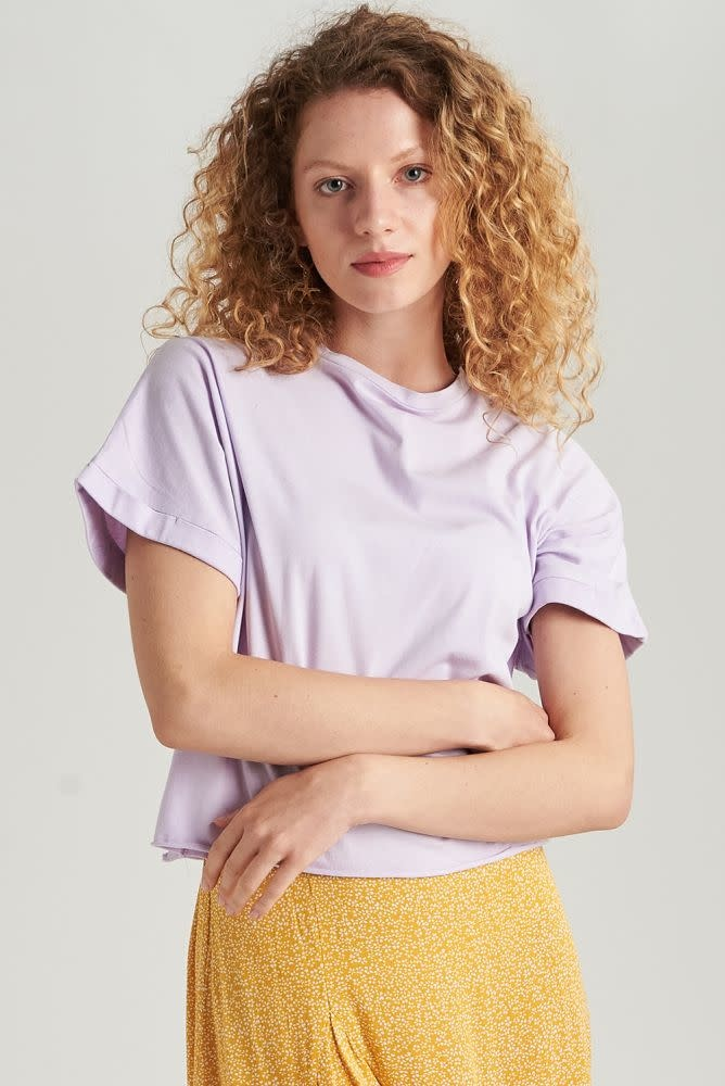 Libby cropped cut-off t-shirt Lila-1