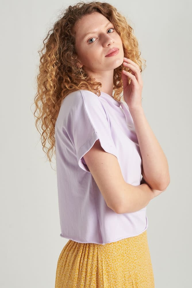 Libby cropped cut-off t-shirt Lila-2