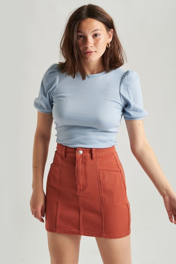 Alyson stretch denim skirt  Brown-1