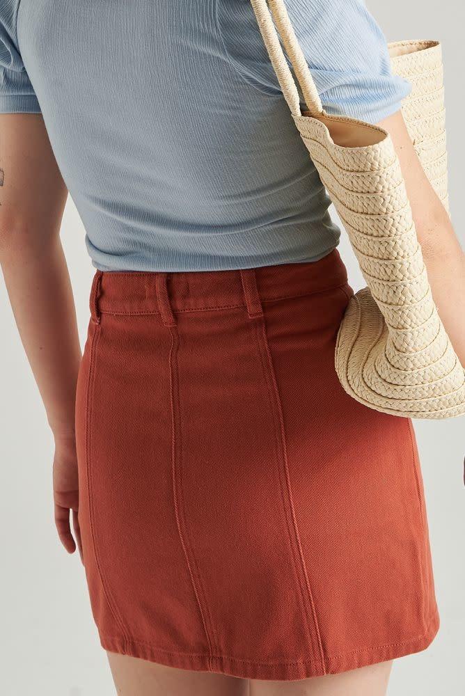 Alyson stretch denim skirt  Brown-3