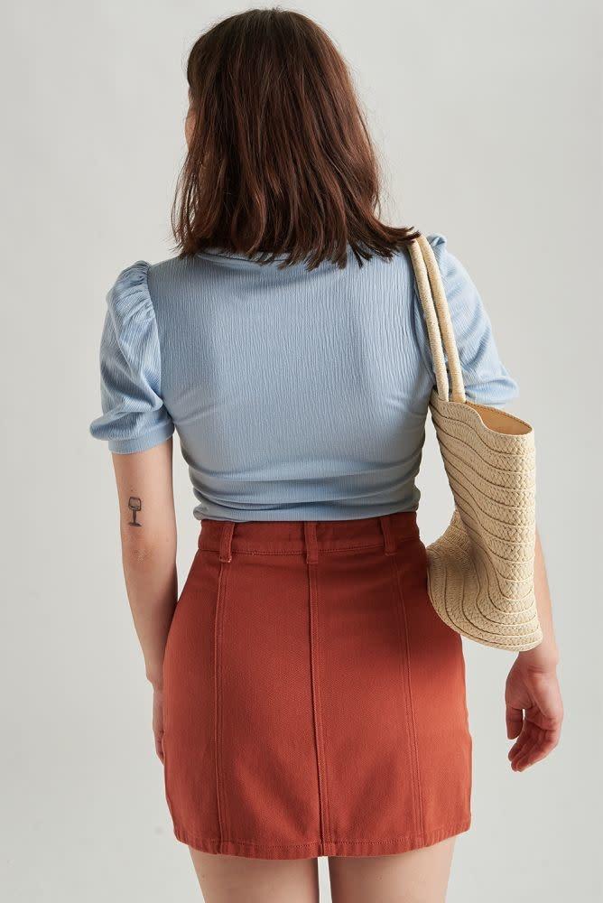 Alyson stretch denim skirt  Brown-2