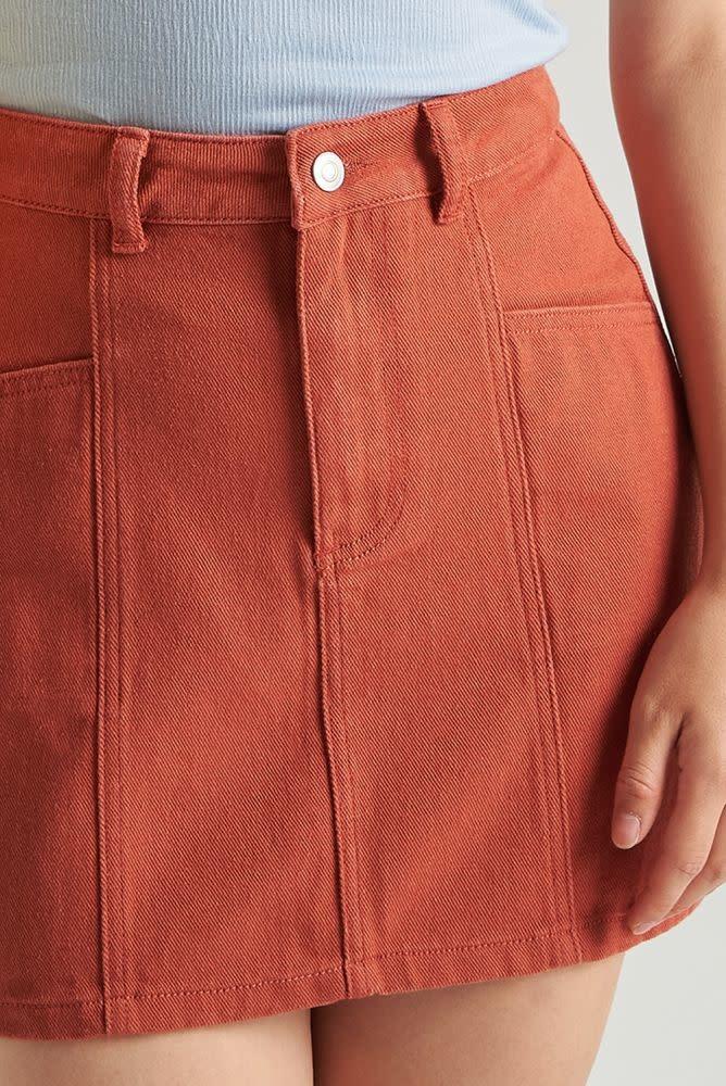 Alyson stretch denim skirt  Brown-4