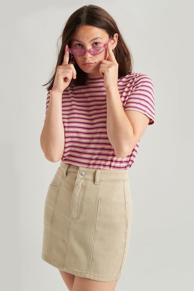Alyson stretch denim skirt Beige-1