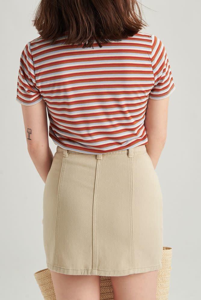 Alyson stretch denim skirt Beige-4