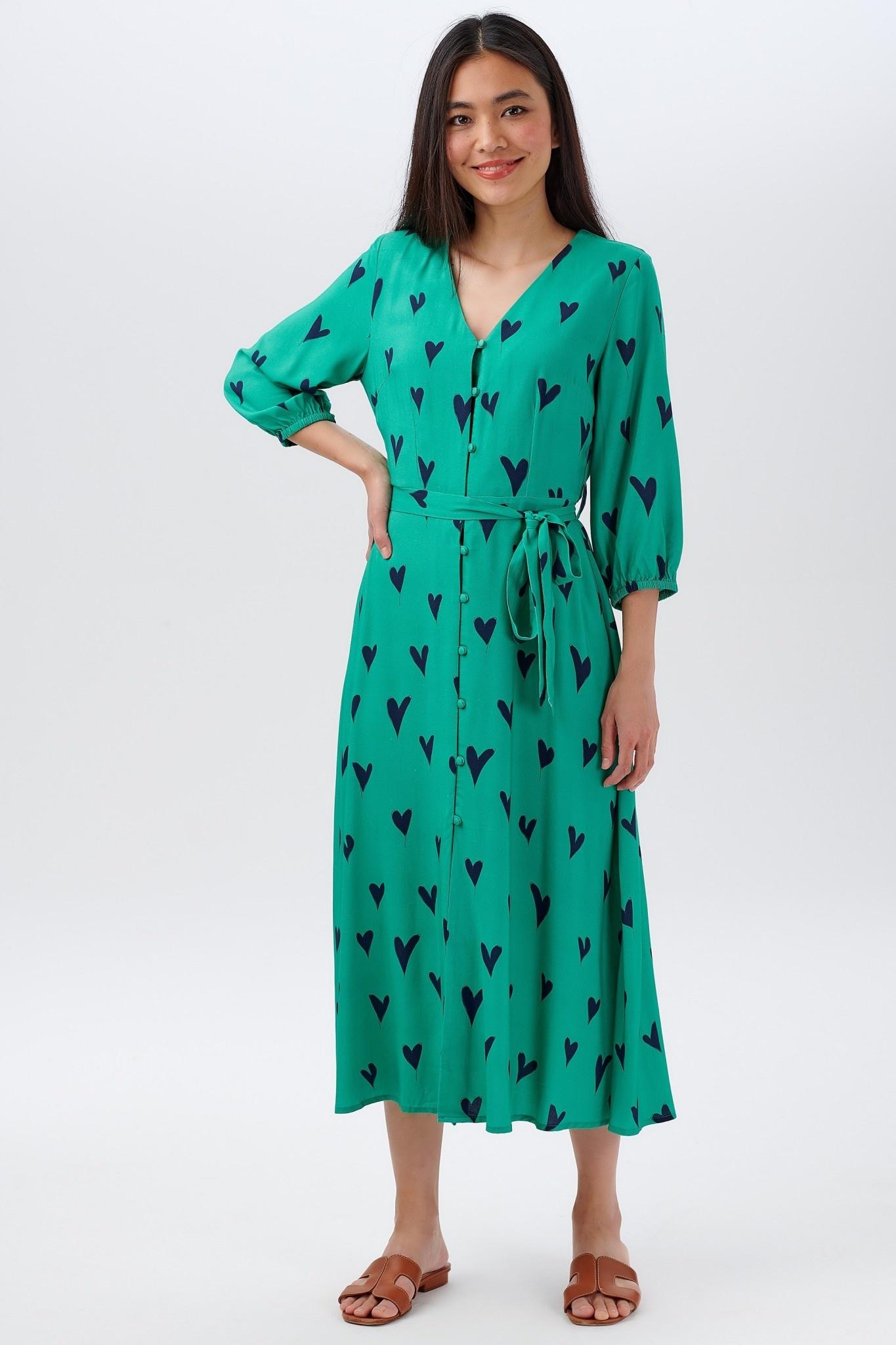 Courtney midi dress Green Hearts-1