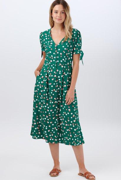 Veronica tea dress Green Dots