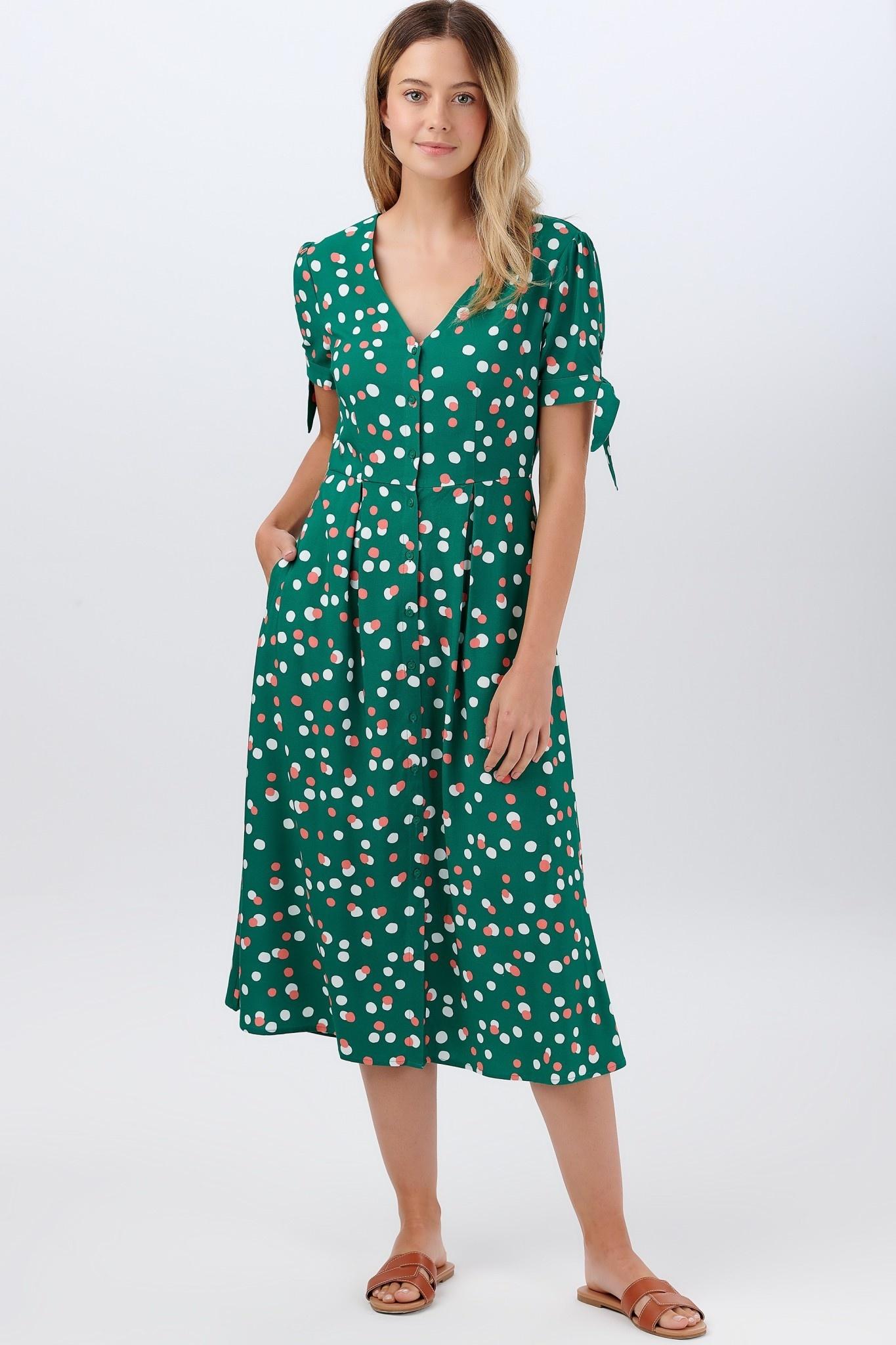 Veronica tea dress Green Dots-1
