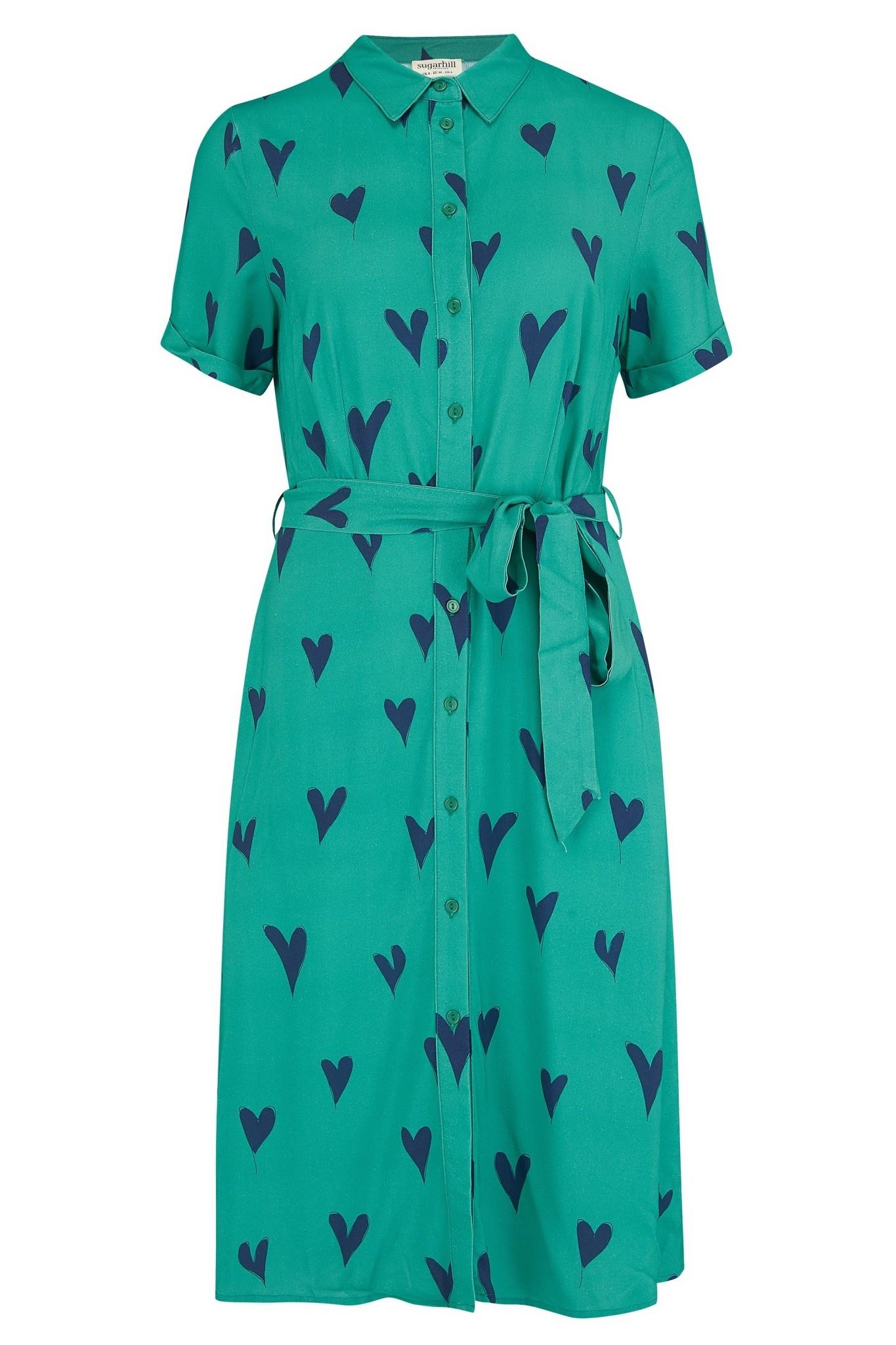 Abby shirt dress Green Hearts-1