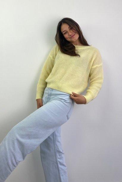 Thaïs short boatneck Soft Yellow