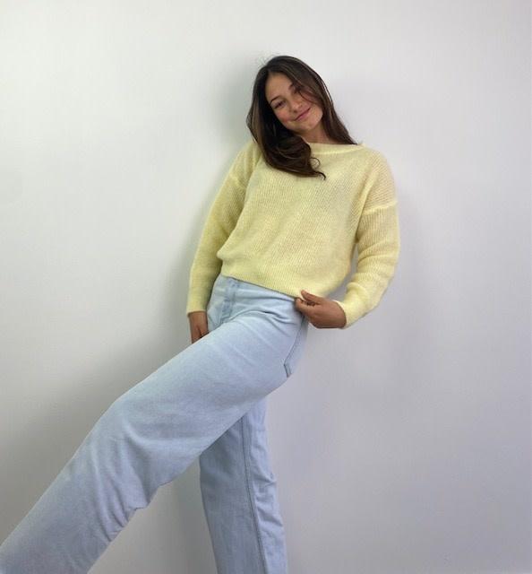 Thaïs short boatneck Soft Yellow-1