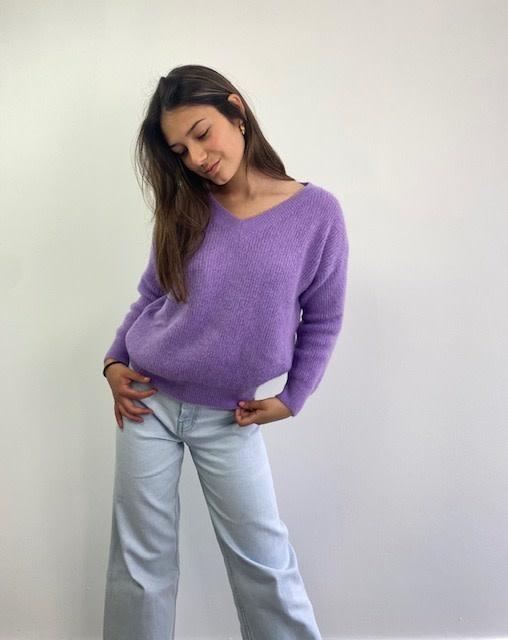 Louna v-neck knitted pull Lila-2