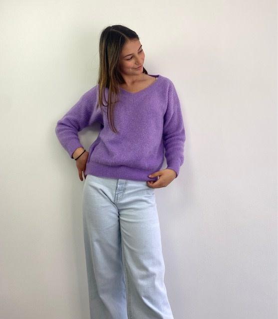 Louna v-neck knitted pull Lila-1