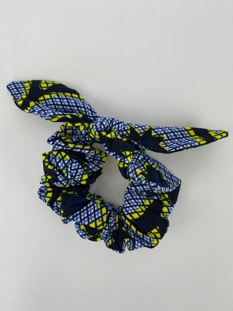 Foma bow scrunchie Yellow Checkered-1
