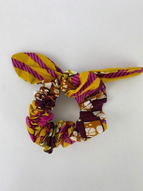 Foma bow scrunchie Oker Fushia-1