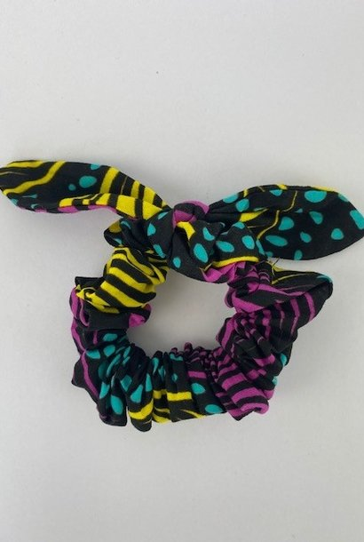 Foma bow scrunchie Aqua Yellow