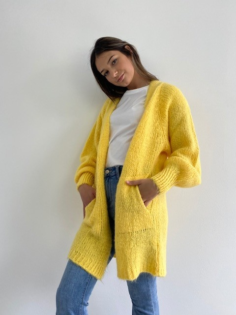 June midi cardigan Yellow-2