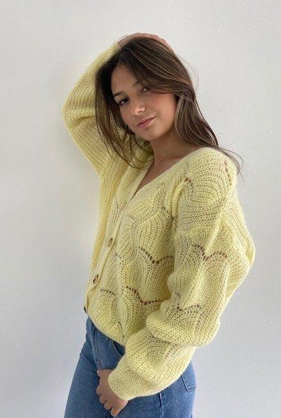 Marlena ajour cardigan Soft Yellow