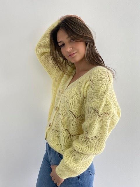 Marlena ajour cardigan Soft Yellow-3