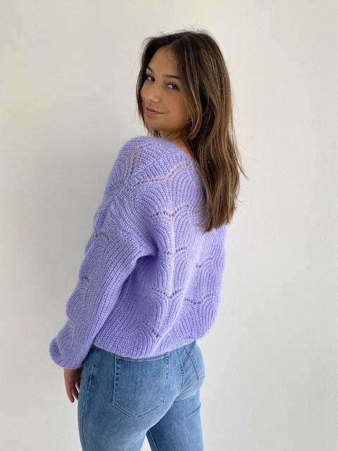 Marlena ajour cardigan Violet-2