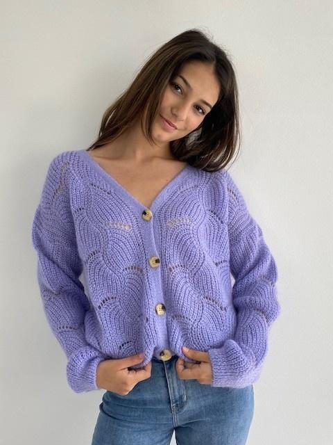 Marlena ajour cardigan Violet-1