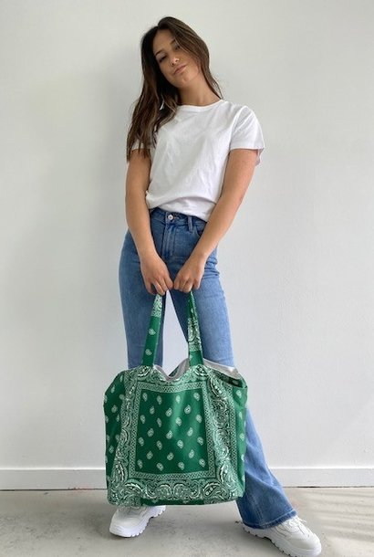 Kaylee satin bandana shopper Vintage Green